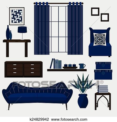 Living Room Furniture And Accessory Clipart K24829942 Fotosearch