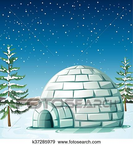 clip art of scene with igloo on snowing day k37285979 search