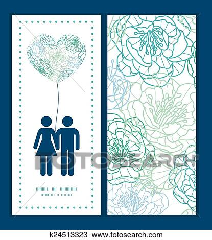 Clipart of Vector blue line art flowers couple in love silhouettes ...