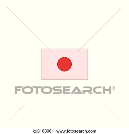 Vector flat cartoon japan flag on wooden flagpole Clipart