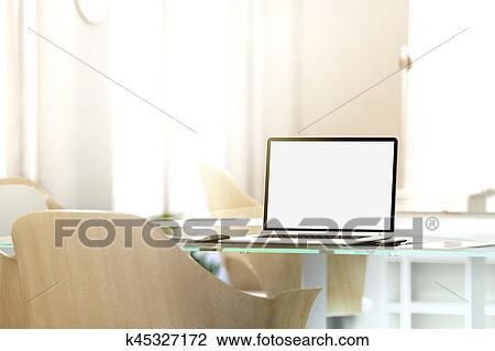 Clipart vide ordinateur portable écran mockup dans bureau