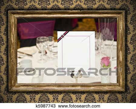 Stock Photo of Wedding image in antique gilded frame on vintage ...