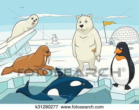 Clip Art - ártico, animales, educativo, juego, para, niños, vector ...