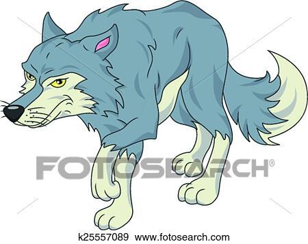 かわいい 狼 漫画 クリップアート K Fotosearch