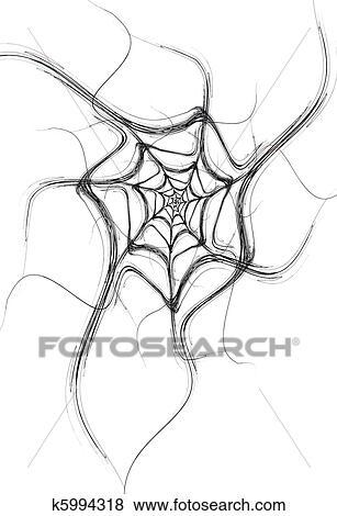 黒 フラクタル 蜘蛛の巣 上に A 白 イラスト K5994318 Fotosearch