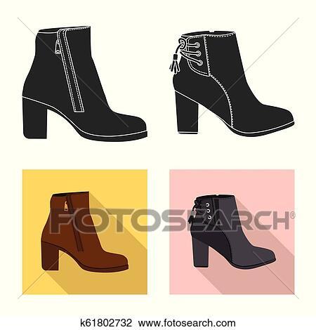 fcd40f8a Aislado, objeto, de, calzado, y, mujer, signo., colección, de, calzado, y,  pie, vector, icono, para, stock. Clipart