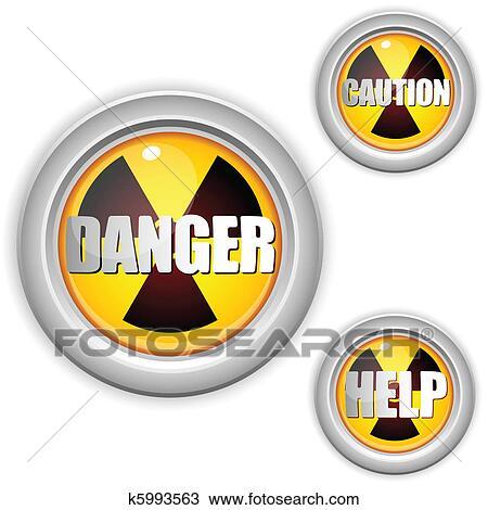 Clipart Atomstrahlung Gefahr Gelb Button Achtung Strahlung