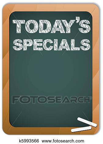 Clip Art Of Blackboard With Todays Specials Message Written