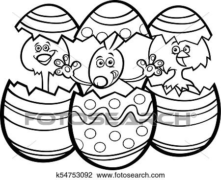 Cartoon Easter Bunny And Chickens Color Book Clipart K54753092  Fotosearch