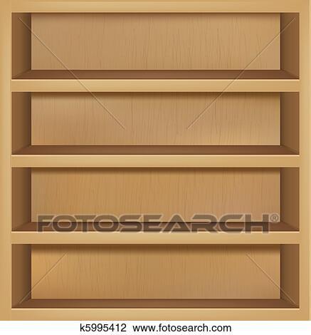Clipart Of Empty Wooden Bookshelf K5995412