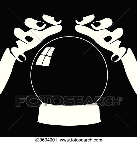 Fortune teller hands with crystal ball Clipart