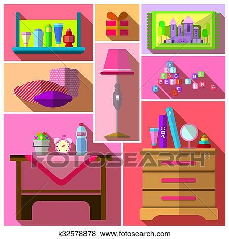 Girls bedroom furniture sets. Clip Art