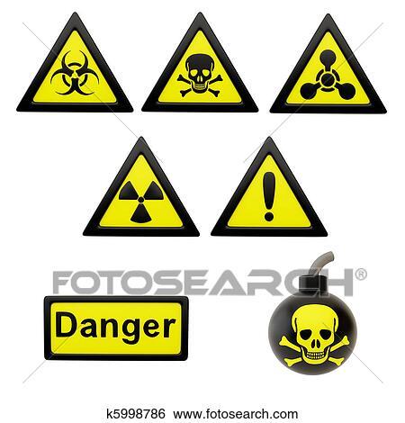 Stock Illustration Of Icons With Symbols Of Hazard K5998786