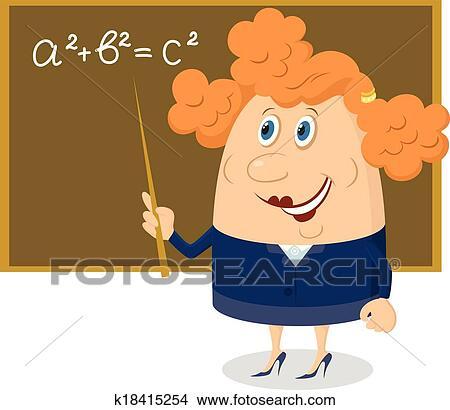 Clipart insegnante donna con lavagna k18415254 for Scuola clipart