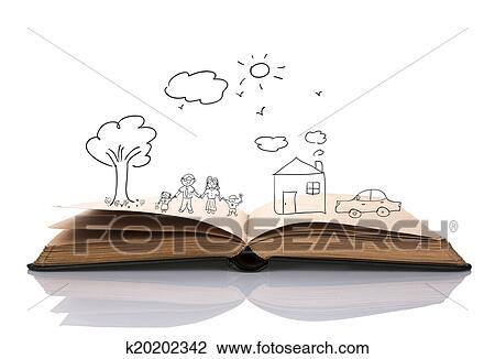 Main Dessiner Dans Livre Ouvert De Agreable Famille Dessin