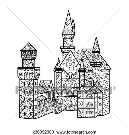 - Medieval Castle Coloring Book For Adults Vector Clipart K36392383  Fotosearch