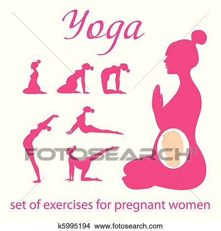 Set-of-exercises-for-pregnant-women Clipart
