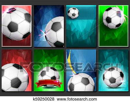 Soccer Game Poster Set Vector Empty Template For Design Modern Soccer Tournament Promotion Football Ball Sport Event Competition Announcement Banner Advertising Blank Illustration Clip Art K59250028 Fotosearch