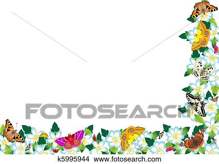Clipart Of Spring Flowers And Butterflies K5995944 Search Clip Art