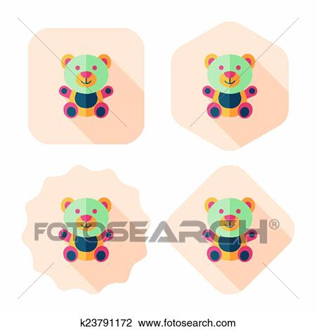 clipart of teddy bear flat icon with long shadow eps 10 k23791172