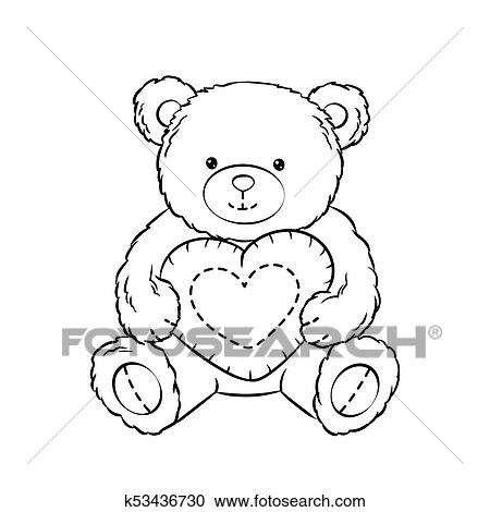 - Teddy Bear Toy With Heart Coloring Book Vector Clipart K53436730  Fotosearch