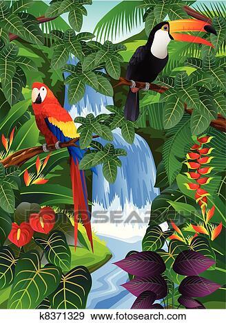 Tropical Bird Clip Art K8371329 Fotosearch