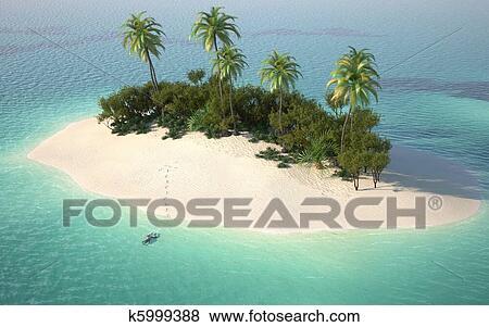 Vista aerea di caribbeanl isola deserta archivio fotografico