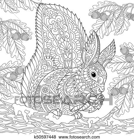 Clip Art Of Zentangle Stylized Squirrel In Forest K50597448