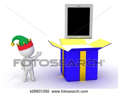 3d Character Showing Open Gift Box Drawing K26831292 Fotosearch