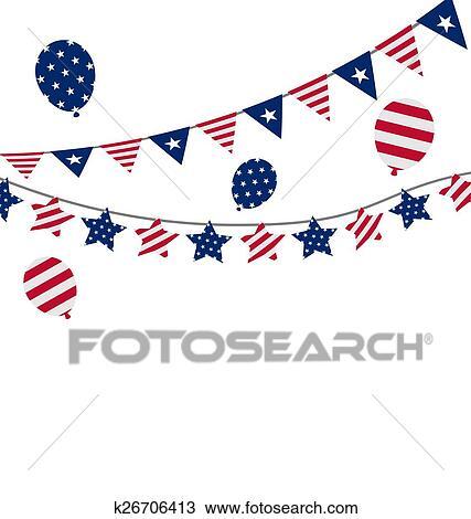 Clipart - banderas, estados unidos de américa, conjunto, banderitas ...