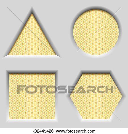 Clip Art Of Design Elements Set Concave Geometric 3d Frames