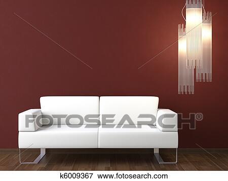 Pareti Soggiorno Bordeaux : Immagine disegno interno bianco divano su bordeaux parete