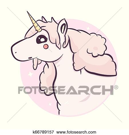 Fantasia Kawaii Unicornio Vetorial Illustration Clipart