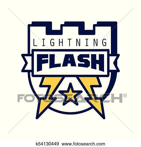 clip art of flash lightning logo template badge with lightning