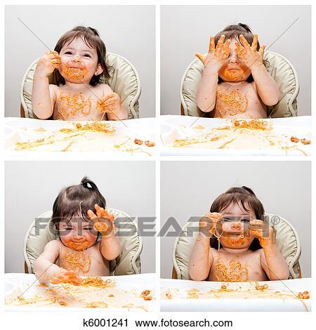 Glücklich Baby Lustig Unordentlich Esser Stock Bild