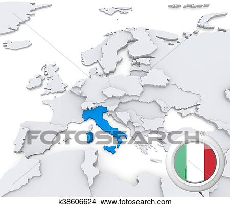 Map Of Europe With Italy Highlighted.Italy On Map Of Europe Stock Illustration