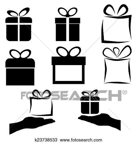 clipart schwarz geschenk symbol satz wei hintergrund vektor k23738533 suche clip art. Black Bedroom Furniture Sets. Home Design Ideas