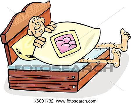 Clipart Mann In Auch Kurzer Bett K6001732 Suche Clip Art