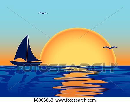 Clipart mer coucher soleil bateau silhouette - Dessin coucher de soleil ...