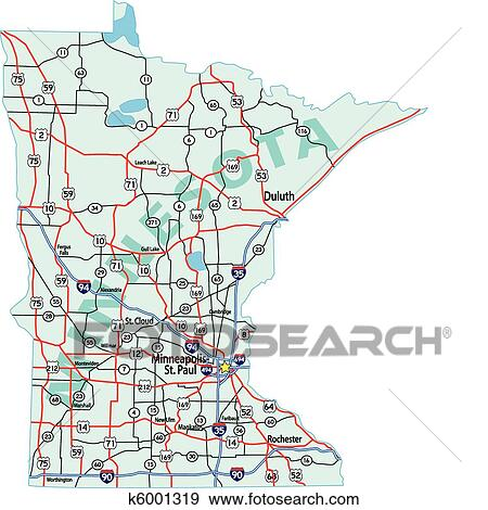 Minnesota State Interstate Map Clip Art | k6001319 | Fotosearch