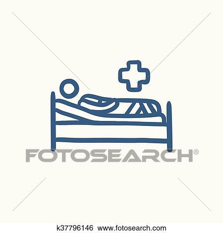 Clip Art Patient Lugen Bett Skizze Icon K37796146 Suche
