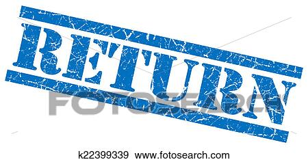 37e4ccba42061 Return blue grunge stamp isolated on white. k22399339 | Fotosearch | Royalty  Free