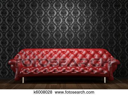 Rosso, divano pelle, su, nero, parete Archivio Fotografico