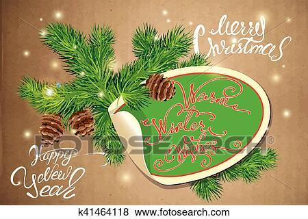 Buon Natale 118.Vacanza Cartolina Auguri Con Ovale Carta Cornice Canne E Abete Albero Branches Mano Scritta Calligraphic Testo Buon Natale E Felice