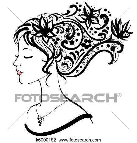 Clipart Visage Femme A Floral Coiffure K6000182 Recherchez