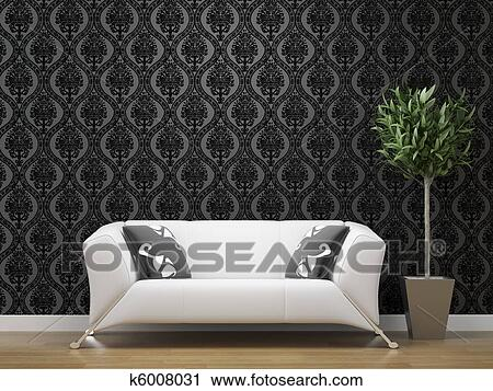 White Sofa On Black And Silver Wallpaper Stock Image