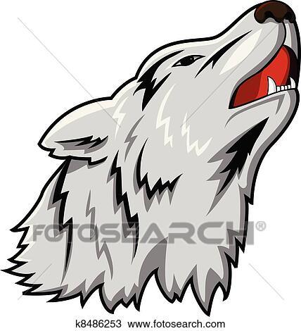 オオカミの頭部 ベクトル クリップアート切り張りイラスト絵画