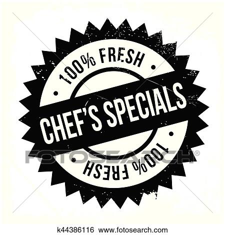 Clip Art Of Chef Specials Stamp K44386116