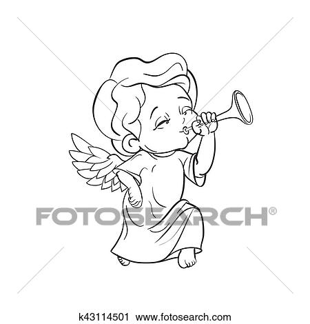 Clipart Of Cute Baby Angel Making Music Playing Trumpet K43114501