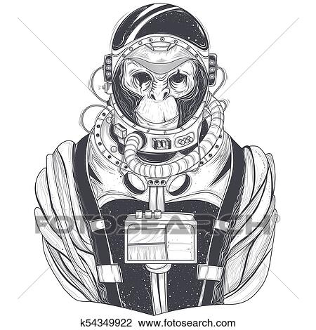Hand drawn illustration of a monkey astronaut, chimpanzee in a space suit  Drawing